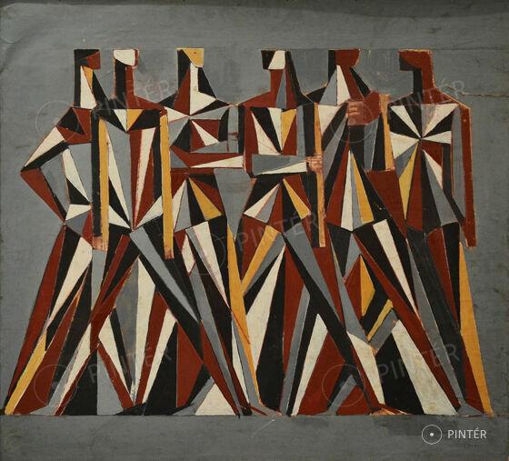 Angyalföldi Szabó Zoltán (1928-2014):  Jánoshalmi sgraffito terv  (olaj, farost, 89 x 100 cm, j.j.l.: Szabó Zoltán 78) Kikiáltási ár: 160.000 HUF