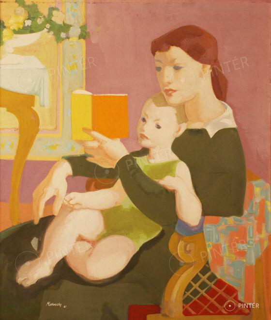 Medveczky Jenő (1902-1969):  Anya gyermekével (Meseolvasás) (olaj, vászon, 70 x 60 cm, j.b.l.: Medveczky 61) Kikiáltási ár: 320.000 HUF