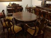 Kozma stílusú ebédlőasztal 6 székkel + 2 karosszékkel