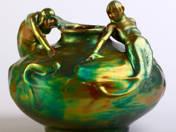 Zsolnay díszváza, sellő dekorral (Mack Lajos dekorterve alapján)