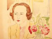 Női portré virágcsokorral