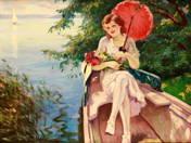 Hölgy a Balaton partján