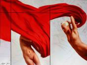 Zsófi vörös drapériával (2014)