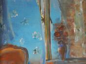 Kék függöny - vörös fotel