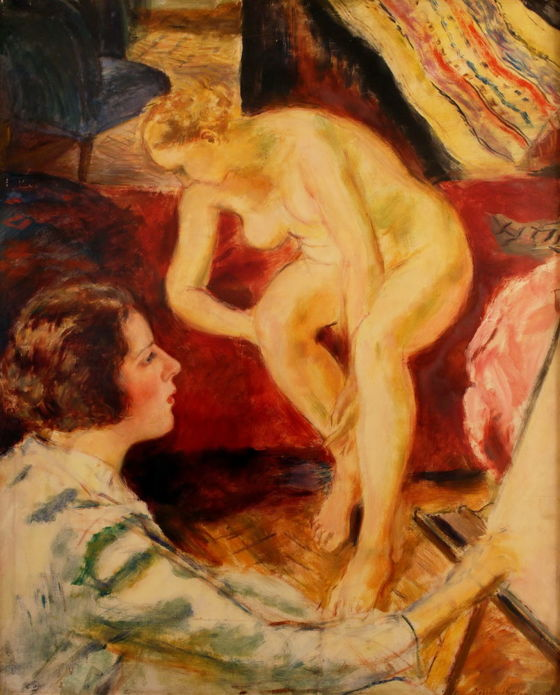 Jobbágyi Gaiger Miklós (1892 - 1959): Festőnő és múzsája (olaj, karton, 100 x 80 cm, j.j.l.: Jobbágyi Gaiger Miklós) Kikiáltási ár: 360.000 HUF