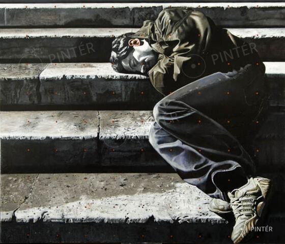 Jovián György: Lépcsők (2008) (olaj, vászon, 170x200 cm, j. a hátoldalon) Kikiáltási ár: 4.000.000 HUF
