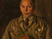 Sztálinvárosban kitüntetett mérnök portréja