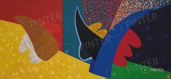 Aknay János (1949):  Angyal született (1990)  (olaj, vászon, 140 x 290 cm, j.b.l.: AJ) Kikiáltási ár: 1.500.000 HUF