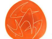 Zsolnay dísztál hal dekorral