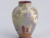 Zsolnay kisváza orientalista tájkép dekorral