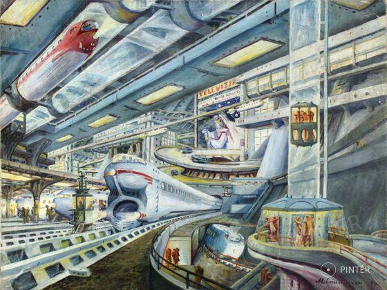 Ismeretlen: A jövő (olaj, vászon, 46 x 61 cm, j.j.l.: M. Omiechowski 955) Kikiáltási ár: 120 000 HUF