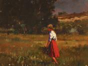 Virágszedő lány a mezőn