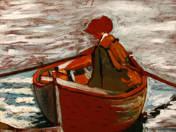 Csónakázó nő