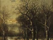 Téli erdő rőzsehordóval