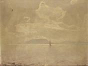Badacsony látképe/ hátoldalon Paradicsomszüretelők