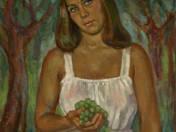 Lány szőlővel