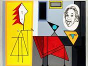 Albert Einstein feleselő nővé változik Pablo Picasso műtermében