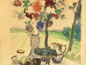 Asztali csendélet virágcsokorral