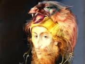 Férfi madaras fejfedővel