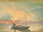 Horgász a Hajógyári sziget mentén