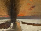 Mocsaras táj naplementében