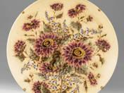 Zsolany dísztál virág dekorral