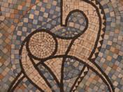 Mozaik fehér ló dekorral