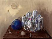 Kék kő kristályokkal