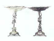 Német ezüst asztali kínálótál párban