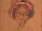 Szecessziós női portré