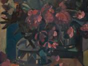 Csendélet lila virágokkal