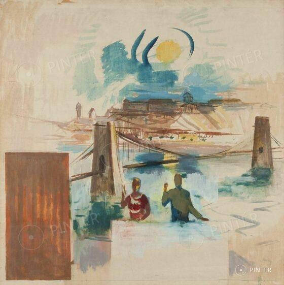 Bernáth Aurél: Metropol falkép (színvázlat) (tempera, papír, 100 x 100 cm, j.j.l.: BA életmű kat.: 1959/59) kikiáltási ár: 320.000 HUF