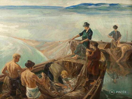 Udvary Pál: Balatoni halászok (olaj, vászon, 60 x 80 cm, j.j.l.: Udvary Pál) ár: 310.000 HUF