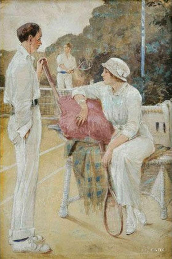 Marold, Ludek (1858-1898): Teniszezők (akvarell, gvas, papír; 35 x 23 cm;j.j.l.) kikiáltási ár: 1 300 000 HUF