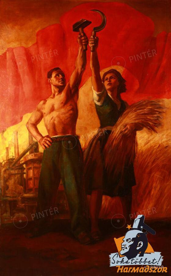 Viday Brenner Nándor (1903-?): Ipar és Mezőgazdaság allegóriája (olaj, vászon, 255 x 162 cm, j.j.l.: Vydai Brenner N.) Kikiáltási ár: 950.000 HUF