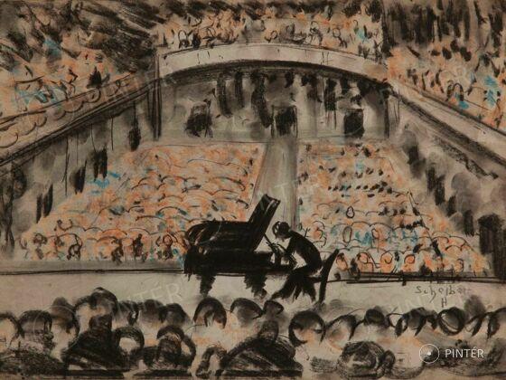 Scheiber Hugó: Zeneakadémia koncertterme (pasztell, papír, 34 x 48 cm, j.j.l.: Scheiber H.) kikiáltási ár: 1.800.000 HUF