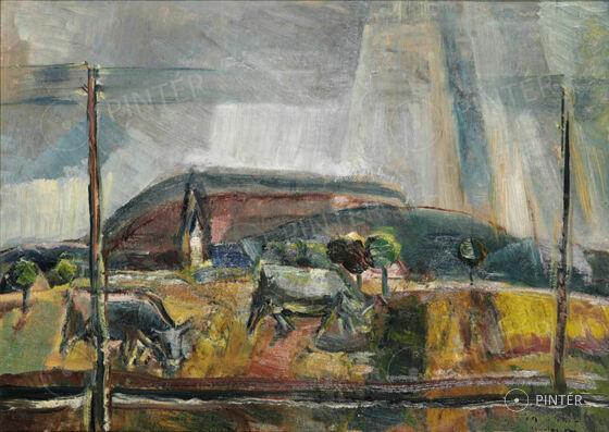 Egry József (1883-1951): Badacsonyi táj tehenekkel (olaj, papír, 49,5 x 69 cm, j.j.l.: Egry József Badacsony) kikiáltási ár: 12.000.000 HUF