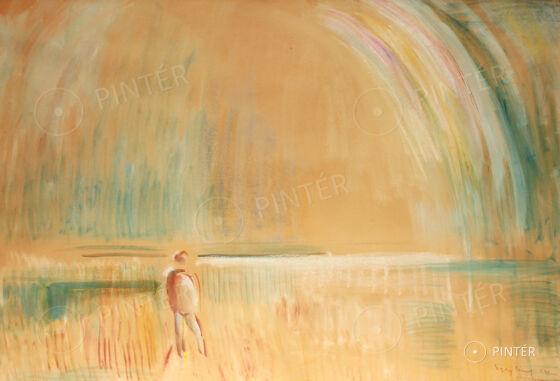 Egry József: Derül (Badacsony, 1941) (olajpasztell, papír, 70 x 100 cm, j.j.l.: Egry József 941 Badacsony) Kikiáltási ár: 5.500.000 HUF