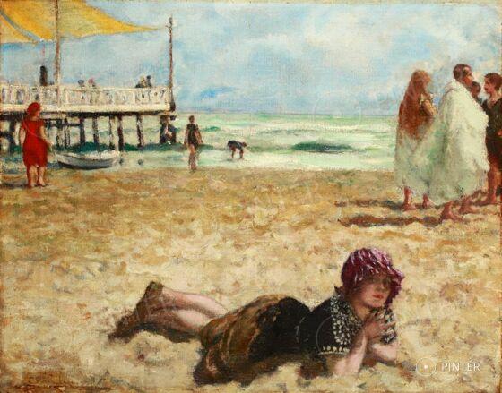 Csók István (1865-1961): Züzü a parton; olaj, vászon; 38 x 48 cm;  j.b.l.: Csoki; kikiáltási ár: 1 600 000 Ft