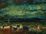 Vaszary János (1867-1939): Balatoni evezősök; olaj, karton; 50 x 70 cm; j.b.l.: Vaszary János; kikiáltási ár: 25 000 000 Ft