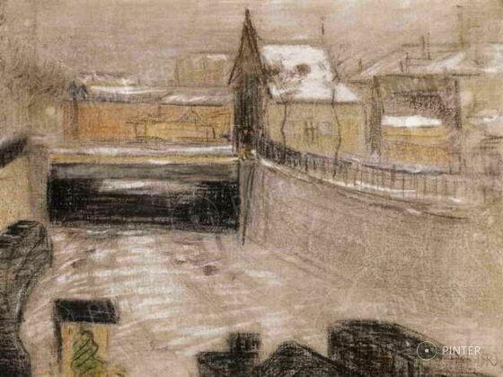 Rippl-Rónai József: Párizsi hó (pasztell, vászon, 32 x 40,5 cm, j.j.l.: RRJ) kikiáltási ár: 7.500.000 HUF